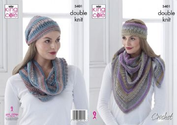 Shawl, Cowl and Hat Crochet Pattern ,5401 by King Cole